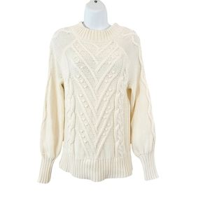 Ann Taylor Loft Ivory Cable Knit Balloon Sleeve Sweater Size Small